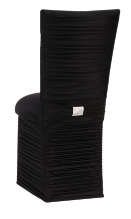 Chloe Black Stretch Knit Chair Cover with Rhinestone Accent Band, Cushion and Skirt (1)