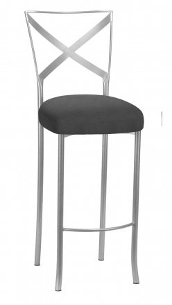 Silver Simply X Barstool with Charcoal Linette Boxed Cushion (2)