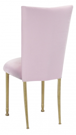 Soft Pink Velvet Chair Cover and Cushion on Gold Legs (1)