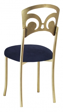 Gold Fleur de Lis with Navy Blue Suede Cushion (1)