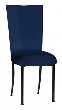 Midnight Blue Taffeta Chair Cover with Boxed Cushion on Black Legs (2)