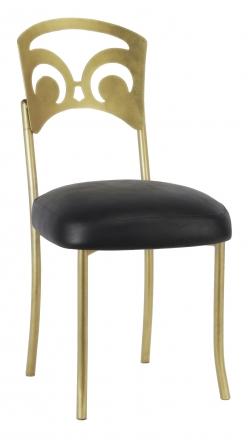 Gold Fleur de Lis with Black Leatherette Boxed Cushion (2)