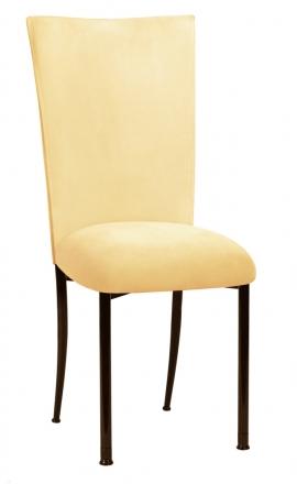 Buttercup Suede Chair Cover and Cushion on Brown Legs (2)