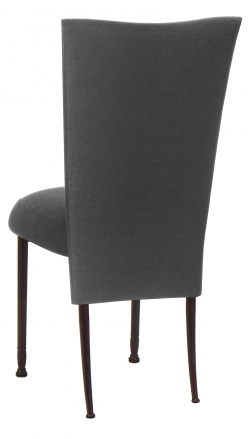 Charcoal Linette Chair Cover and Cushion on Mahogany Legs (1)