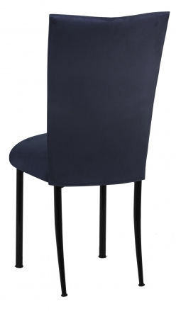 Navy Suede Chair Cover and Cushion on Black Legs (1)