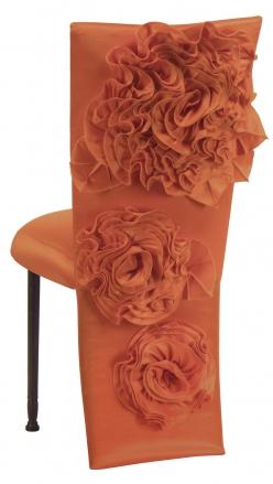 Orange Taffeta Jacket with Flowers and Boxed Cushion on Mahogany Legs (1)