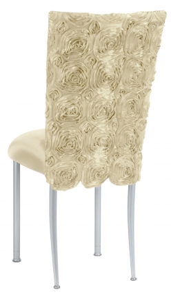 Ivory Rosette Chair Cover with Ivory Stretch Knit Cushion on Silver Legs (1)