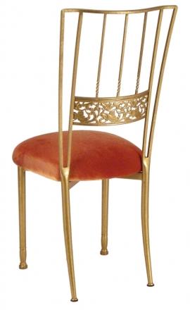 Gold Bella Fleur with Paprika Velvet Cushion (1)
