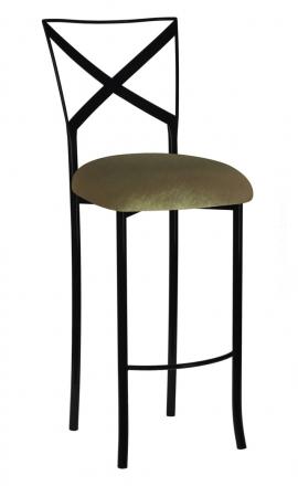 Blak. Barstool with Olive Velvet Cushion (2)