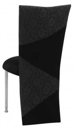 Black Velvet Zig Zag Black Lace Jacket with Black Stretch Knit Cushion on Silver Legs (1)
