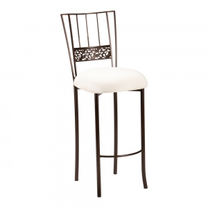 Bella Fleur Mahogany Barstool with Ivory Stretch Knit Cushion (2)