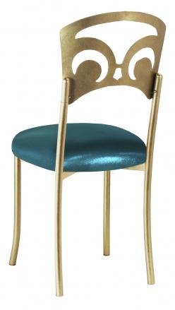 Gold Fleur de Lis with Metallic Teal Stretch Knit Cushion (1)