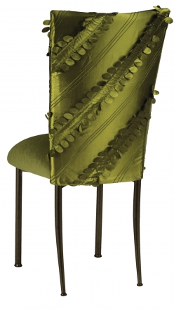 Olive Taffeta Petals Chair Cover with Olive Velvet Cushion on Brown Legs (1)
