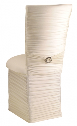 Chloe Ivory Stretch Knit Chair Cover with Jewel Band, Cushion and Skirt (1)