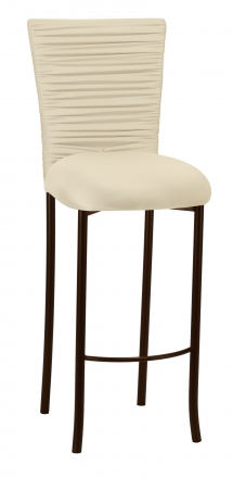 Chloe Ivory Stretch Knit Barstool Cover with Rhinestone Accent Band and Cushion on Brown legs (2)