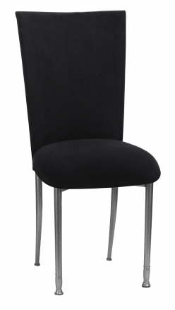 Black Suede Chair Cover with Jewel Belt, Cushion with Silver Legs (2)