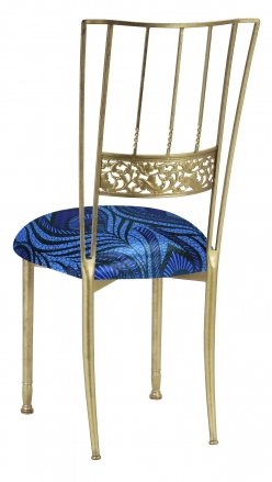 Gold Bella Fleur with Blue and Purple Peacock Knit Cushion (1)