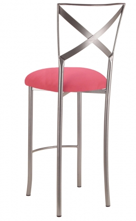 Simply X Barstool with Raspberry Suede Cushion (1)