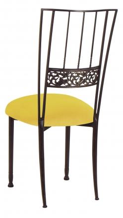 Mahogany Bella Fleur with Sunshine Yellow Velvet Cushion (1)