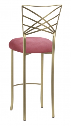 Gold Fanfare Barstool with Raspberry Suede Cushion (1)