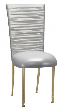 Chloe Metallic Silver on White Foil Chair Cover and Cusion on Gold Legs (2)