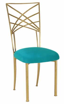 Gold Fanfare with Turquoise Suede Cushion (2)