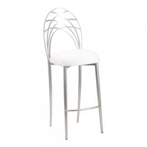 Silver Piazza Barstool with White Stretch Knit Cushion (2)