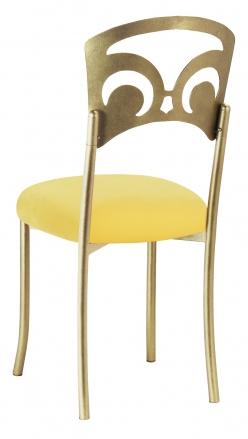 Gold Fleur de Lis with Bright Yellow Velvet Cushion (1)