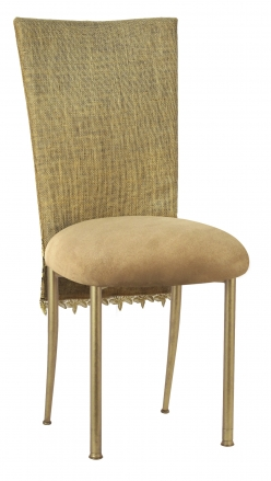 Burlap Fancy 3/4 Chair Cover with Camel Suede Cushion on Gold Legs (2)