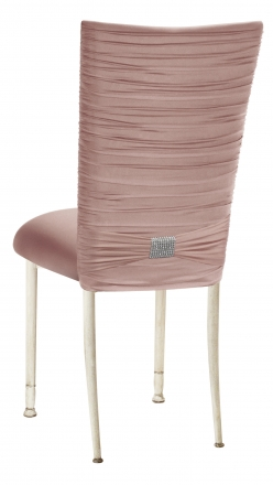 Chloe Blush Stretch Knit Chair Cover with Rhinestone Accent and Cushion on Ivory Legs (1)