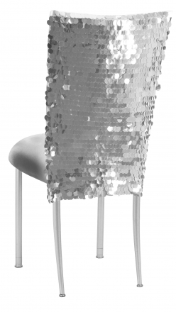 Silver Confetti Stretch Knit Chair Cover and Silver Stretch Knit Cushion on Silver Legs (1)