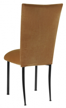 Gold Velvet Chair Cover and Cushion on Black Legs (1)