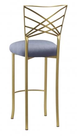 Gold Fanfare Barstool with Steel Velvet Cushion (1)