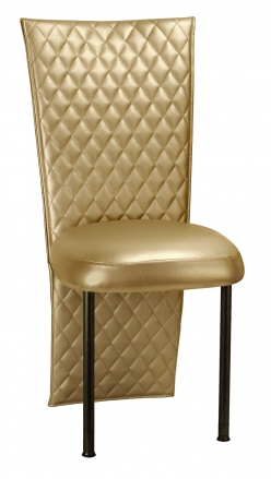 Gold Quilted Leatherette Chair Cover with Gold Stretch Vinyl Boxed Cushion on Brown Legs (2)