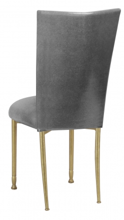 Gunmetal Stretch Knit Chair Cover with Cushion on Gold Legs (1)