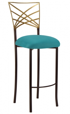 Two Tone Gold Fanfare Barstool with Turquoise Suede Cushion (2)