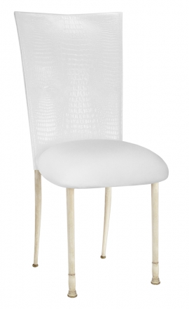 White Croc Chair Cover with White Stretch Knit Cushion on Ivory Legs (2)