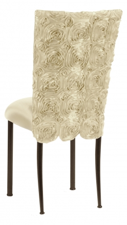 Ivory Rosette Chair Cover with Ivory Stretch Knit Cushion on Brown Legs (1)