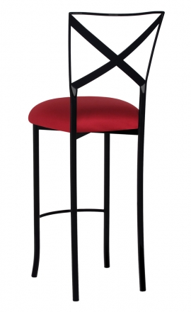 Blak. Barstool with Cranberry Stretch Knit Cushion (1)