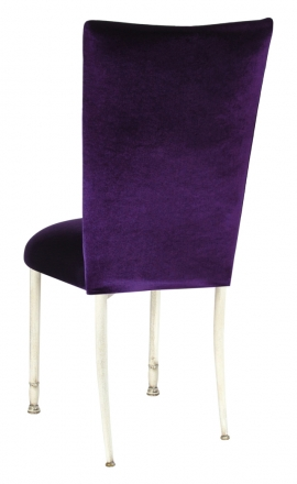 Eggplant Velvet Chair Cover and Cushion on Ivory Legs (1)