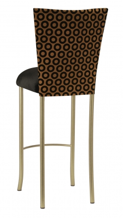 Chocolate Suede with Black Chenille Circle Barstool Cover and Black Velvet Cushion on Gold Legs (1)