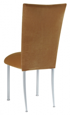 Gold Velvet Chair Cover and Cushion on Silver Legs (1)