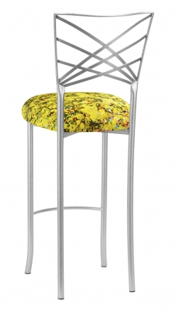 Silver Fanfare Barstool with Yellow Paint Splatter Knit Cushion (1)