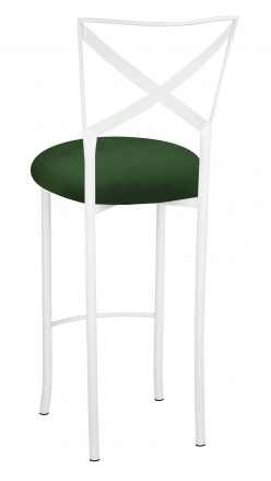 Simply X White Barstool with Green Velvet Cushion (1)