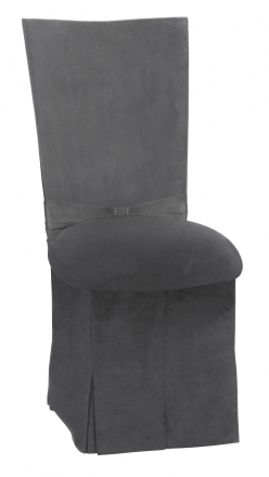 Charcoal Suede Chair Cover with Jewel Belt, Cushion and Skirt (2)