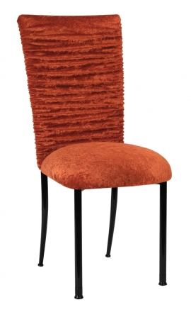 Chloe Paprika Crushed Velvet Chair Cover and Cushion on Black Legs (2)