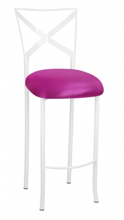 Simply X White Barstool with Metallic Fuchsia Stretch Knit Cushion (2)