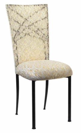Two Tone Gold Fanfare with Ivory Lace Chair Cover and Ivory Lace over Ivory Stretch Knit Cushion (2)