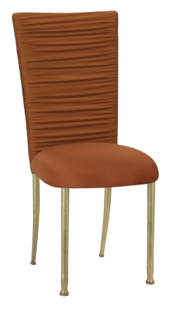 Chloe Copper Stretch Knit Chair Cover with Rhinestone Accent Band on Gold Legs (2)