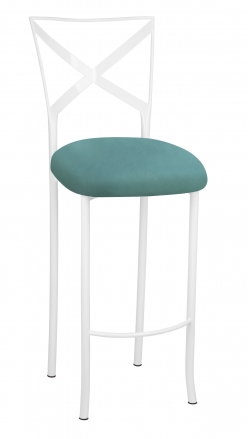 Simply X White Barstool with Turquoise Suede Cushion (2)